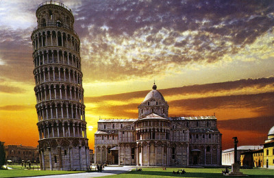 The Miracles Square of Pisa at sunset
